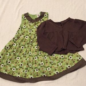 Carter's green floral dress w/ brown sweater.